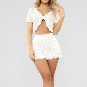 White Crochet matching set Size Small